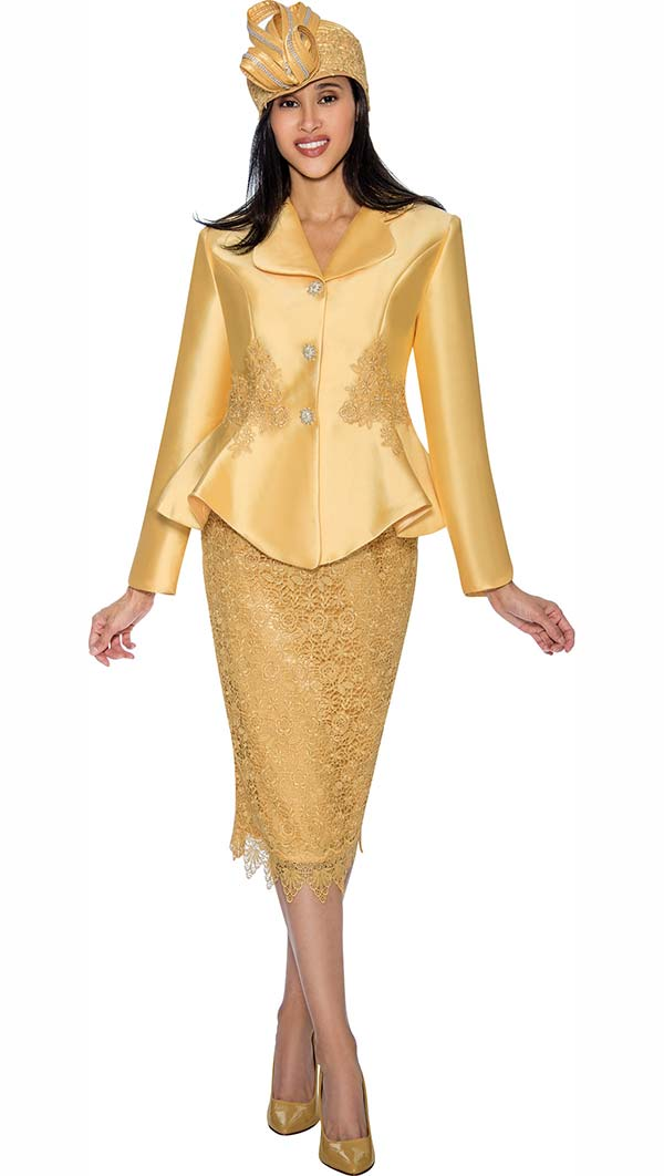 GMI G6592-Yellow - Lace Accented Skirt Suit With Peplum Jacket