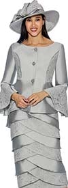 GMI G6602-Silver - Layered Skirt Suit With Bell Cuff Jacket