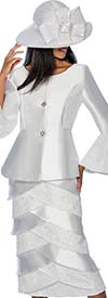 GMI G6602-White - Layered Skirt Suit With Bell Cuff Jacket