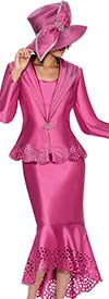 GMI G6643-Pink - Laser Cutout Flounce Hem Skirt Suit With Wide Shawl Lapel