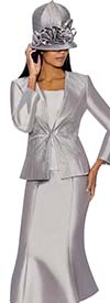GMI G6653-Silver - Flared Skirt Suit With Embellished Jacket