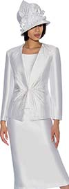 GMI G6653-White - Flared Skirt Suit With Embellished Jacket