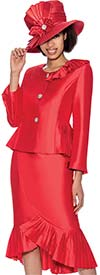 GMI G6692-Red - Ruffled Flounce Hem Skirt Suit With Peplum Jacket