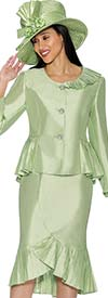 GMI G6692-Seafoam - Ruffled Flounce Hem Skirt Suit With Peplum Jacket