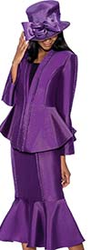 GMI G6723-Purple - Flounce Hem Skirt Suit With Embellished Peplum Jacket