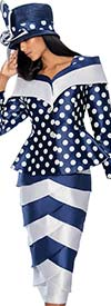 GMI G6782-Navy - Layered Tulip Skirt Suit With Polka Dot Peplum Jacket