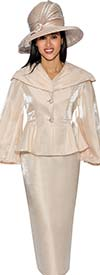 GMI G6792-Champagne - Skirt Suit With Peplum Jacket & Over Shoulder Collar