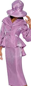 GMI G6792-Lilac - Skirt Suit With Peplum Jacket & Over Shoulder Collar
