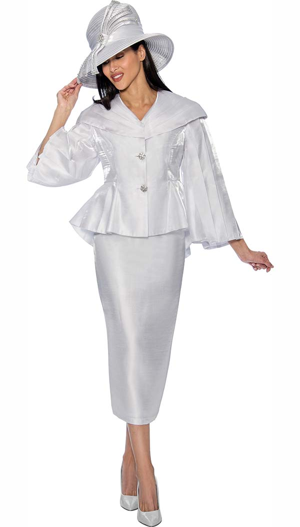 GMI G6792-White - Skirt Suit With Peplum Jacket & Over Shoulder Collar