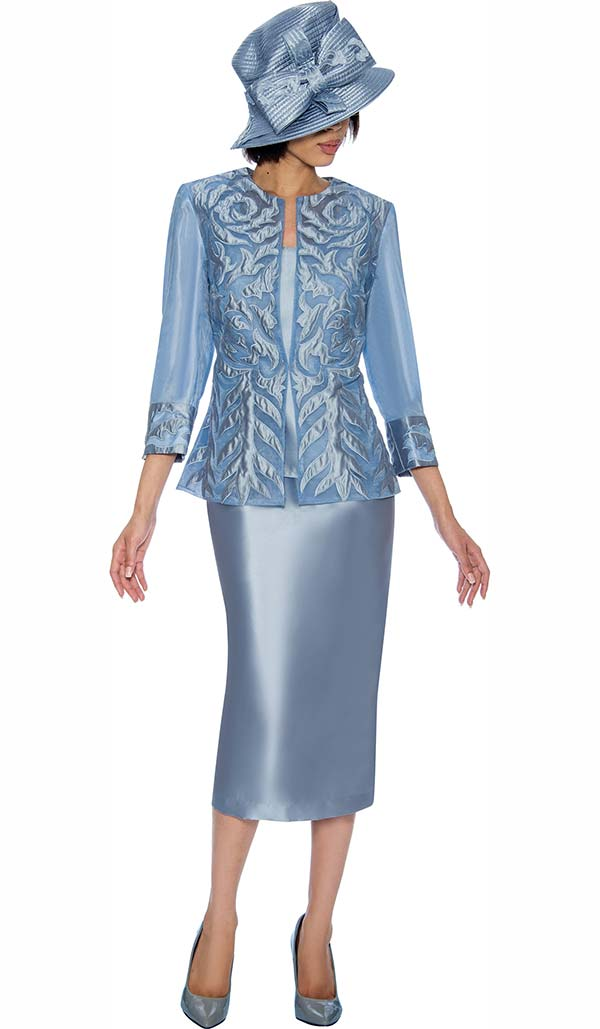 GMI G6813-Blue - Womens Skirt Suit With Brocade & Mesh Adorned Jacket