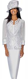 GMI G6813-White - Womens Skirt Suit With Brocade & Mesh Adorned Jacket