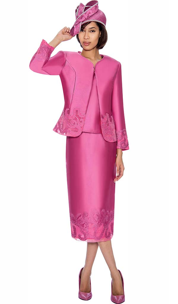 GMI G6823-Pink - Ladies Jacket & Skirt Suit With Embroidered Accents
