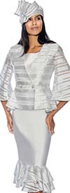 GMI G6833-White - Womens Layered Flounce Skirt Suit With Striped Peplum Jacket