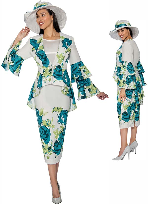 GMI G6853 - Floral Print Skirt Suit With Layered Bell Sleeve Peplum Jacket