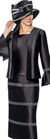 Clearane GMI G6863-Black - Embellished Skirt Suit With Bell Sleeve Cuff Jacket
