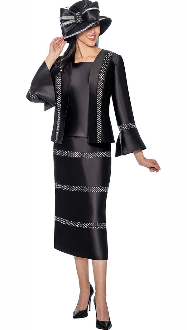 GMI G6863-Black - Embellished Skirt Suit With Bell Sleeve Cuff Jacket