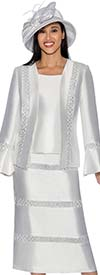 GMI G6863-White - Embellished Skirt Suit With Bell Sleeve Cuff Jacket