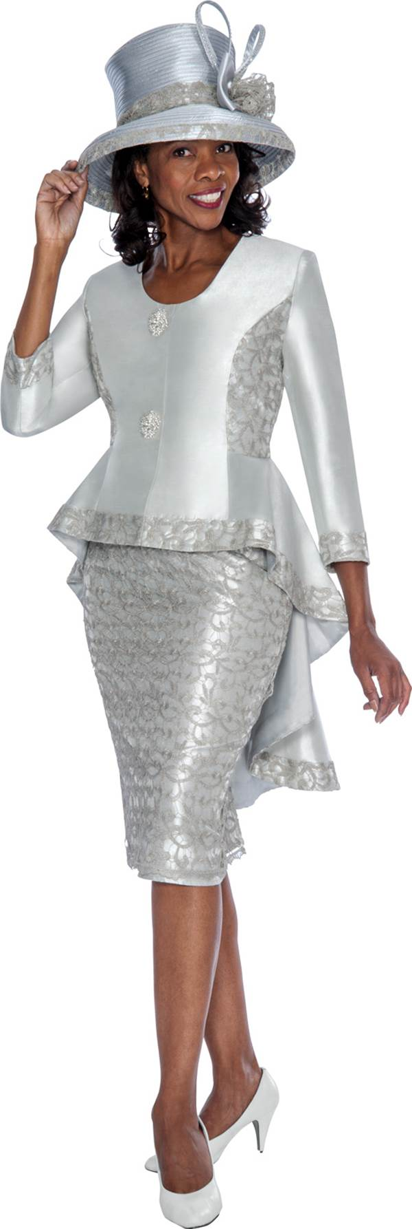 gmi g6012 silver womens church suits