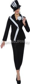 Clearance GMI G4662 Black / White - Womens Church Suits