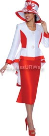 Clearance GMI G5032 White / Red - Womens Church Suits