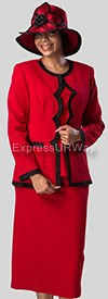 Clearance Giovanna K4005 Red / Black - Womens Church Suits