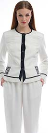 JSong 1113P-Ivory Womens QR Code Jacket & Pant Set