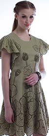 JSong 1767 Ladies Cut-Out Embroidered Lotus Flared Dress