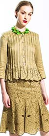 JSong 1771S Ladies Pleated Jacket & Embroidered Lotus Flared Skirt
