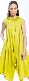 JSong 1272-Citrus - Womens Jumpsuit With Mini Ruffle Neckline