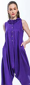 JSong 1272-Purple - Womens Jumpsuit With Mini Ruffle Neckline