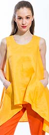 JSong 150-Marigold - Womens Sleeveless Linen Tunic