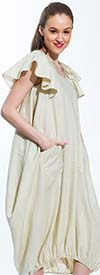 JSong 151-Natural - Womens Linen Dress With Ruffled Sleeves