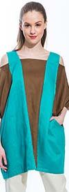 JSong 153-Teal - Womens Linen Cold Shoulder Top