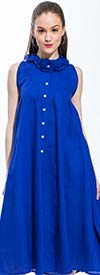 JSong 1746-Royal - Womens Linen Sundress With Ruffles