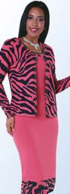 Clearance Kayla 5124-Z Knit Zebra Print Dress Suit With Nailhead Detail