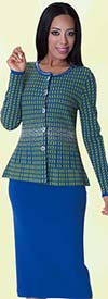 Kayla 5159 Knit Skirt Suit With Houndstooth Pattern & Rhinestones