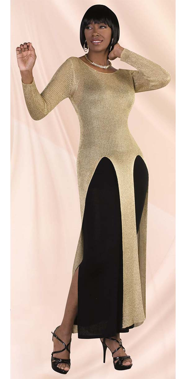 Kayla 5165-Gold Knit Dress In Metallic Fabric With Tank Beneath