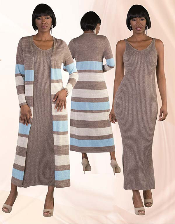 Kayla 5166 Metallic Knit Tank Dress & Striped Cardigan Set