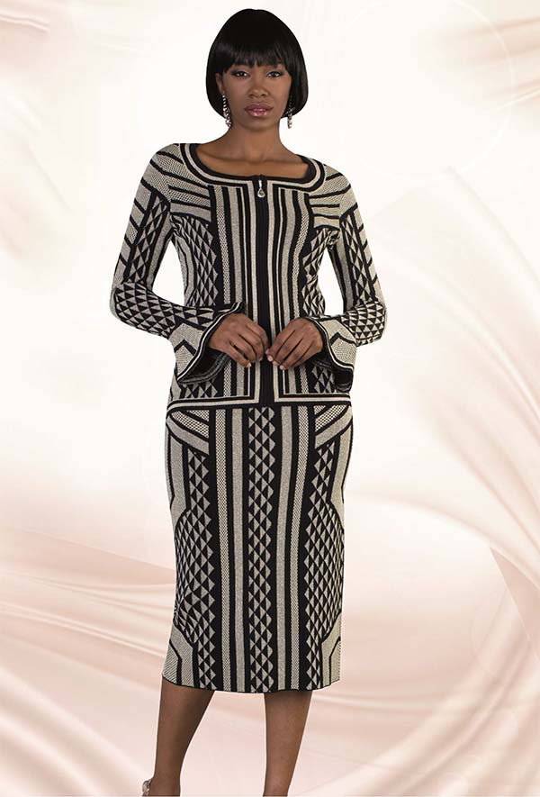 Kayla 5184-Black Knit Skirt Suit In Geometric Print With Flare Sleeve Cuffs