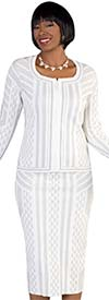 Kayla 5184-White Knit Skirt Suit In Geometric Print With Flare Sleeve Cuffs