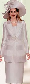 Clearance Lily and Taylor 3697 Silky Twill Ladies Suit With Net Trim