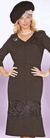 Lily and Taylor 3715 Womens Knit Dress With Lace