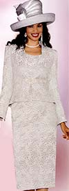 Lily and Taylor 3719 Ladies Jacquard Skirt Suit