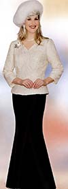 Lily and Taylor 3725 Ladies Sequin Top With Silky Twill Skirt Suit