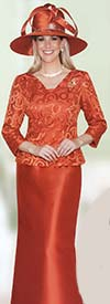 Lily and Taylor 3726 Lace Top & Silky Twill Skirt Suit