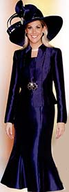 Lily and Taylor 3732 Ladies Silky Twill Suit With Rhinestone Trim
