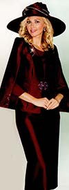 Lily and Taylor 3745 Womens Silky Twill Skirt Suit With Cape