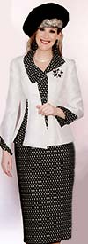Lily and Taylor 3754 Ladies Silky Twill With Eyelet Skirt Suit