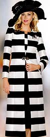 Lily and Taylor 3768 Ladies Striped Skirt Suit With Duster
