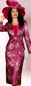 Lily and Taylor 3773 Womens Fuchsia Multi Print Suit